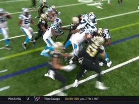 Vaccaro greets Stewart just shy of first down to force punt