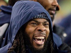 Richard Sherman gets hyped up on sidelines after Seahawks force incompletion