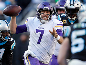 Keenum's swatted pass ruled a fumble, giving Panthers possession