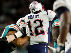 Watch: Dolphins pass rush strikes fear into Brady to force throw away