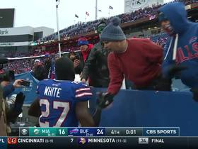 Watch: Tre'Davious White celebrates with Bills fans after game ending INT
