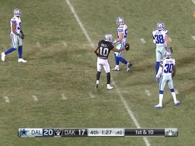 Derek Carr fires down the middle to Seth Roberts for a 19-yard gain