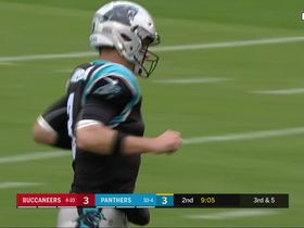 Cam Newton is shaken up from Lavonte David tackle, but jogs off field