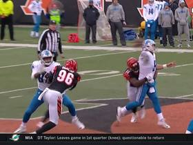 Matthew Stafford gets hit as he throws, Vincent Rey grabs the pick