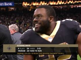 Mark Ingram celebrates with Skittles on sideline