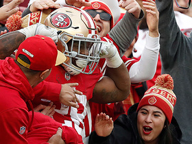 Carlos Hyde goes into a 'Levi's Leap' after TD run