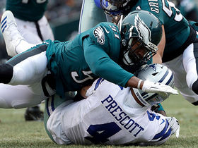 Means comes in untouched after he stunts inside, sacks Prescott