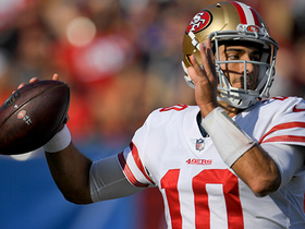 Garoppolo's first throw of the day goes 44 YARDS to Kittle