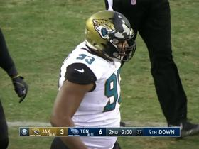 Calais Campbell goes so hard, his helmet is missing paint