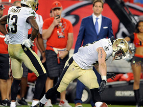 Drew Brees finds Zach Line at the goal line for a 3-yard TD