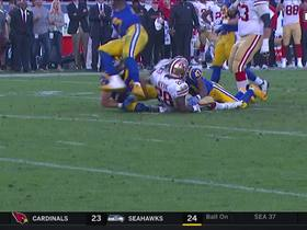 Bryce Hager rips ball away from Carlos Hyde, recovers fumble