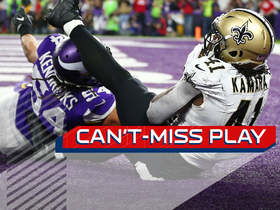 Watch: Can't-Miss Play: Kamara goes OVER Kendricks for clutch TD