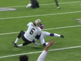 Watch: Morstead goes all out to take down Sherels on punt return