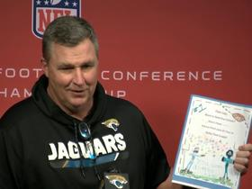 Watch: Doug Marrone receives playbook from first graders on how to beat the Patriots