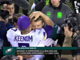 Watch: Nick Foles hugging Brian Dawkins, Case Keenum after the game