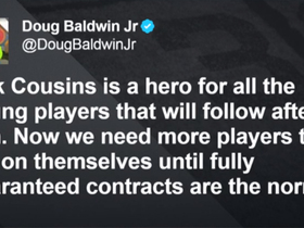 Doug Baldwin tweets that Cousins is a 'hero' for what he did in free agency