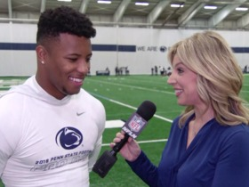 Watch: Saquon Barkley: 'I'm done running with a shirt off, I'm ready to put pads on'