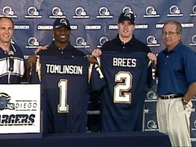 Watch: This Day in Draft History: The Chargers select RB LaDainian Tomlinson in RD 1 and QB Drew Brees in RD 2