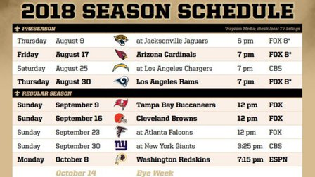 picture regarding Nfl Week 2 Schedule Printable referred to as Saints 2018-19 Program Breakdown - NFL Movies