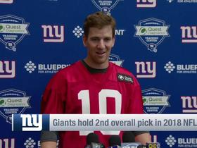 Watch: Eli on Giants' No. 2 pick: 'I'll answer all the draft questions after the draft'