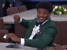 Watch: Lamar Jackson waits to hear his name with a huge smile on his face