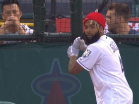 Watch: Dual athlete? OBJ hits home runs at Angel Stadium batting practice