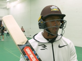 Watch: Russell Wilson practices batting with cricket players in London