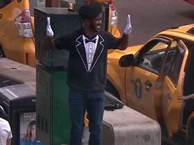 Watch: Nate Burleson mimes in Times Square after 'Pros' lose to 'Joes' in AFFL Ultimate Final