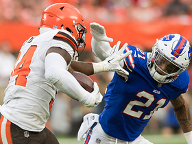 Watch: Hyde's stiff arm sends Poyer straight to turf