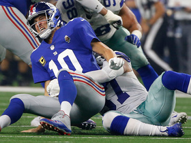 Watch: Damien Wilson knocks ball out of Eli Manning's hands, Cowboys recover