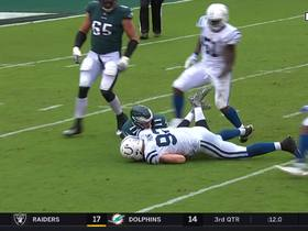Watch: Margus Hunt strip-sacks Carson Wentz, recovers fumble