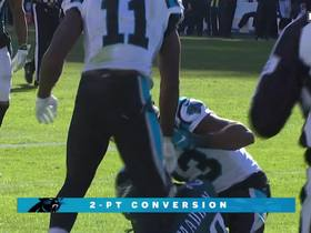 Watch: Cam throws on the run for successful two-point conversion