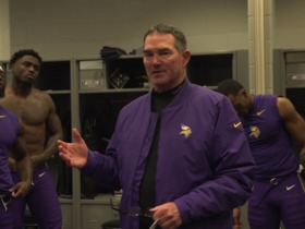 Watch: Mike Zimmer congratulates team in locker room after their first win over the Jets in New York