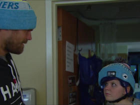 Watch: Greg Olsen delivers custom beanies to children's hospital