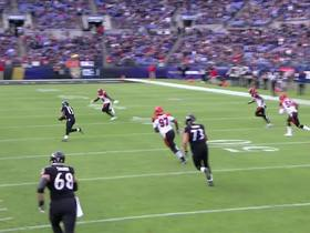 Watch: Lamar Jackson improvises for big completion of 23 yards before half
