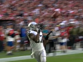 Watch: Go inside Carr's helmet as he finds Cook for the 23-yard TD   True View