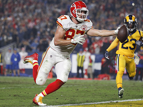 Watch: Kelce chucks ball into the stands after hauling in Mahomes' fourth TD toss