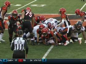 Watch: Hardy Nickerson forces fumble off Royce Freeman