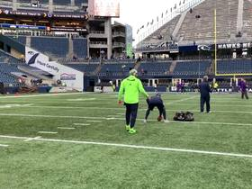 Watch: Russell Wilson warms up before 'MNF'