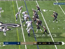 Watch: Brees floats perfect pass to Kamara on wheel route for big third-down pickup