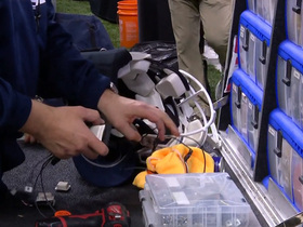 Watch: Goff gets helmet speaker adjusted on the sideline