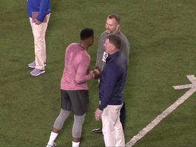 Watch: Dwayne Haskins chats with Pat Shurmur after pro day workout