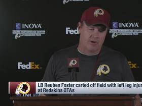 Watch: Jay Gruden addresses Reuben Foster's leg injury