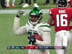 Watch: Kyle Phillips recovers fumble after Jets force pressure on Falcons' QB