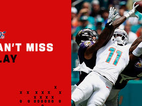 Watch: Can't-Miss Play: DeVante Parker LEVITATES over two DBs for epic deep catch