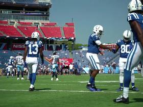 Watch: Jacoby Brissett celebrates with teammates after Week 2 win vs. Titans