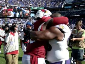 Watch: Terrell Suggs hugs former Ravens teammate Brandon Williams after game