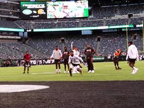 Watch: OBJ shows off toe-tap ability in warm ups
