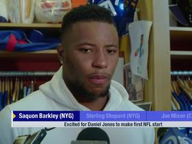 Watch: Saquon Barkley on Daniel Jones: He's been doing a 'great job'