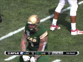 Watch: Garrett Marino gets UAB's first sack on Southern Alabama QB